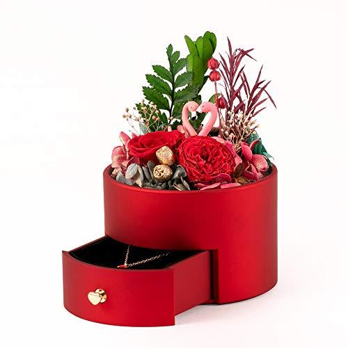 STB Luxuriöse kreative Flamingo-Blumenkasten, romantische Valentinstags-Geschenk-Box, Schmuckschatulle, konservierte Blume, Geschenk-Box, rot
