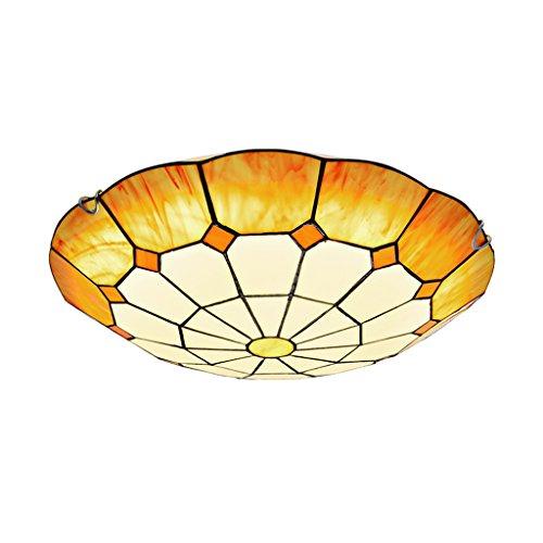 @ceiling luminaire Le salon de style européen méditerranéen Éclairage de plafonnier simple Étude de lampes à led ronde (Couleur : Trois couleurs Lumière-24w/40cm)