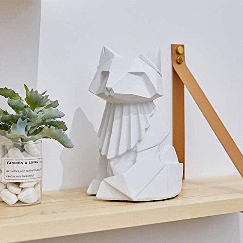 Escultura Estatua Estatuilla de Arte de Zorro Blanco Lindo de Origami Moderno Adornos coleccionables estatuillas de Manualidades de Escritorio para Regalo de decoración del hogar