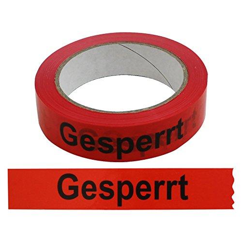 12 Rollen Klebeband Gesperrt 25 mm x 66 lfm Absperrband Paketband Packband Warnband Hinweisklebeband