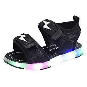 YWLINK Antideslizante Verano Fondo Blando CóModo El Comercio Exterior De NiñOs LED Luz Deportes Playa Zapatos Sandalias Luz Zapatos Rojo, Negro, Gris 21-30 Regalo