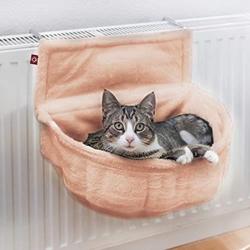 CanadianCat Company ® | Katzen Kuschelsack für Heizkörper | Beige | Liegemulde mit verstellbaren Bügeln