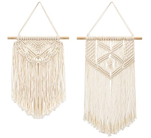 Mkouo 2 Pcs Macramé Colgar en la Pared Small Tapiz de Arte Tejido Boho Chic Home Decor Apartment Dorm Room Decoration, 33cm (L) x 25.4cm (W) and 40.6cm (L) x 25.4cm (W)
