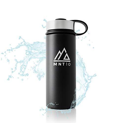 MNT10 Edelstahl Trinkflasche 500ml I Premium Isolierflasche für Wandern, Fitness, Fahrrad, Schule und Büro I Wasserflasche + Gratis Sportdeckel (Midnight Black   500ml)