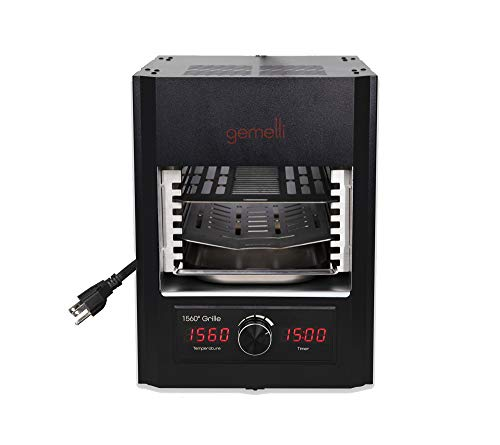 Gemelli Gourmet Steak Grille (1600 Watt), Steakhouse Quality, Infrared Ceramic Superheating Up to 1560 Degrees, Cool Touch Exterior, Indoor Electric Infrared Grill and Sear Station, Stainless Steel Accessories, Quick Grilling (Black)