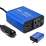 150W Car Power Inverter 12V DC to 110V AC Converter with 4.2A Dual USB Car Charger Adapter Modified Sine Wave Converter with AC Outlet for Car(Blue)