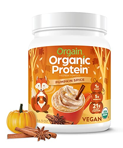 Pumpkin Spice Organic Plant Based Protein Powder by Orgain - Vegan, Non Dairy, Gluten Free, 1g of Sugar, Soy Free, Kosher, Non-GMO, 1.02 Lb (Packaging May Vary)