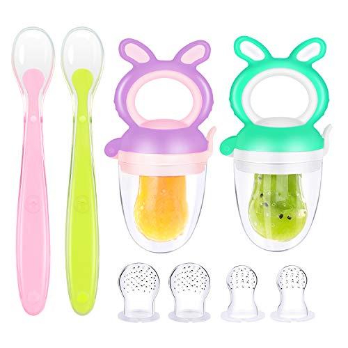 Oladwolf 2 chupetes de fruta para bebé + 1 cuchara para bebés a partir de 3 meses + 6 chupetes de fruta en 3 tamaños para bebés de 0 a 6 meses, sin BPA, chupete para frutas y verduras