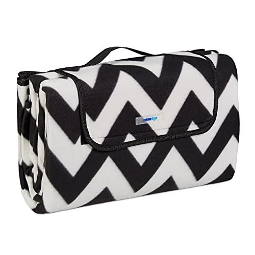 Relaxdays XXL Picknickdecke, 200x200 cm, Fleece Stranddecke, wärmeisoliert, wasserdicht, mit Tragegriff, schwarz-weiß