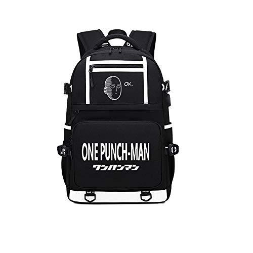 RuiHai Trading One-Punch Man-Anime-Rucksack mit großem Fassungsvermögen, für Laptops, College, Büchertasche, Schulranzen