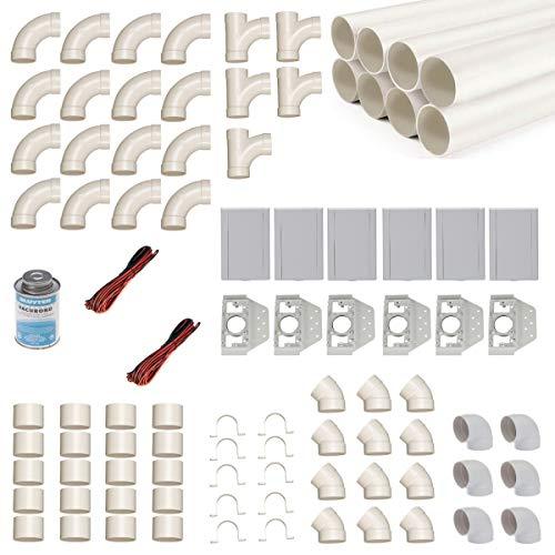 Zentralstaubsauger Einbau-Set für 6 Saugdosen mit Rohren, Fittings & Co. - Montageset für den DIY-Einbau einer Staubsaugeranlage - Saugdose VacuValve rechteckig