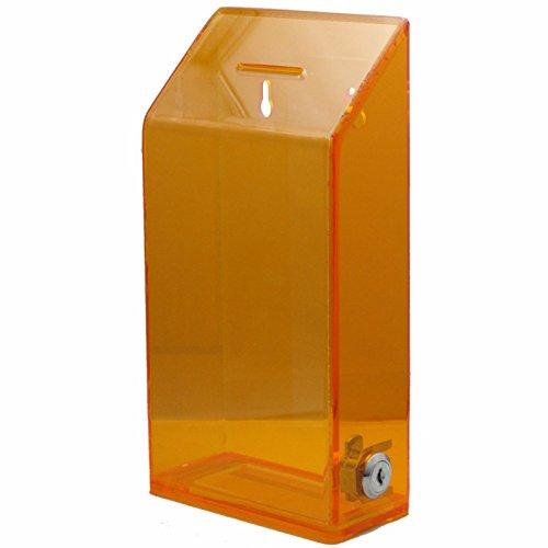 My Charity-Boxen–Hohe Qualität Spende Box–für Fundraising Spende Box–Ticket Box–Box–Vorschlagsbox,–mit Lock & 2Schlüssel {transluzent orange}