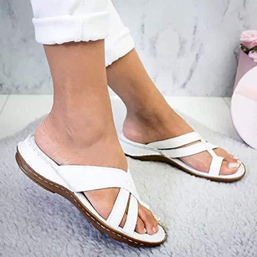 EVR Sandalias Correctoras Mujeres Zapatos Ortopédicos Juanete Corrector Cómoda Planas Cuña Casuales De Las Señoras del Dedo Gordo del Pie Corrección Sandalias,Blanco,36