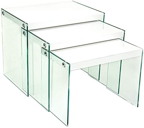 Best Cordy Inc. - Set of 3 Nesting Tables Modern Stacking Coffee Tables with Tempered Glass Legs - Glossy