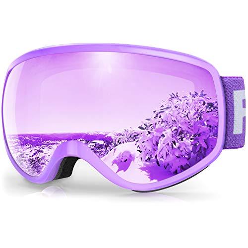 findway Gafas Esqui Niños 3~8 Años Mascara Esqui Niño Gafas de Esqui Niña Niño,Ajustable Anti-Niebla Protección UV Compatible con Casco para Esquiar Invierno (Lente Lavanda/Argentado(VLT 28%))
