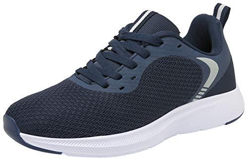 DAFENP Zapatillas Running de Deportivas para Hombre Mujer Gimnasio Sneakers Comodos Deportes Calzado Ligero Transpirable XZ725-DarkBlue-EU36