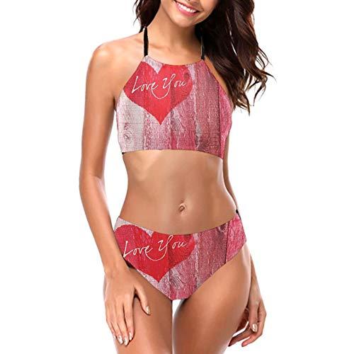 Bikini de dos piezas con diseño de corazón y texto en grunge para mujer, estilo rústico, fondo de madera