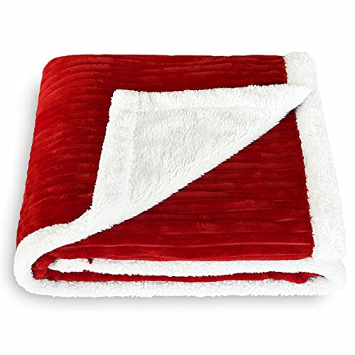 SOCHOW Sherpa Fleece Throw Blanket, Super Soft Fluffy Warm Stripe Plush Blanket for Sofa Couch Bed 60 x 80 Inches, Red