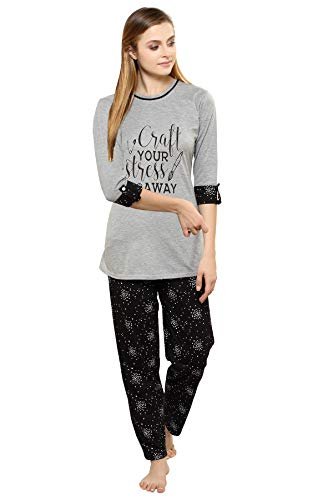 TIGYWIGY Women's Cotton Printed Night Suit/Night Dress/Pyjama Set (Charcoal Grey, XX-Large)