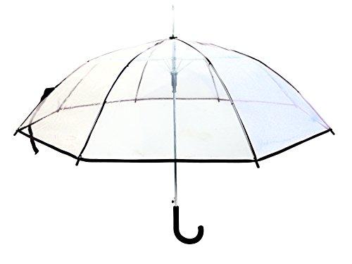 Regenschirm Transparent Durchsichtig Long Automatik Clear, Farbevariante:schwarz