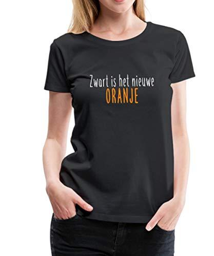 Spreadshirt Zwart Is Het Niewe Oranje Koningsdag Vrouwen Premium T-shirt