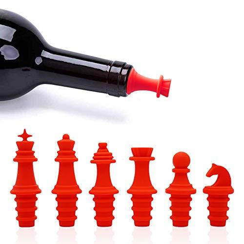 Fcslvy Tapones de Vino Silicona, 6 Piezas Tapones para Botellas, Color arcoíris para Mantener la Carne para Vino, Cerveza, champán, Alcohol, Vino espumoso