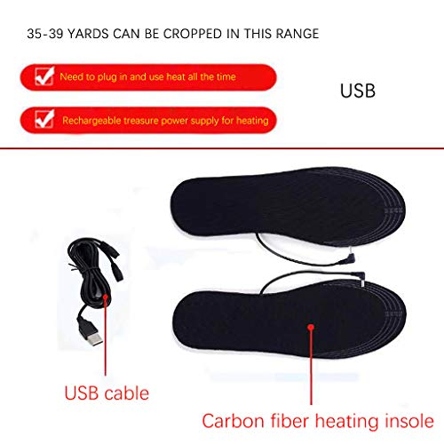 Flurries 👍 Electric Powered Heated Insoles - Heating Shoe Pads - Warm Socks Feet Heater - Boot Warmth-Keep Mat - DIY Cut-to-Fit Washable USB Rechargeable Warmer Men Women Winter (Black, 35-39)