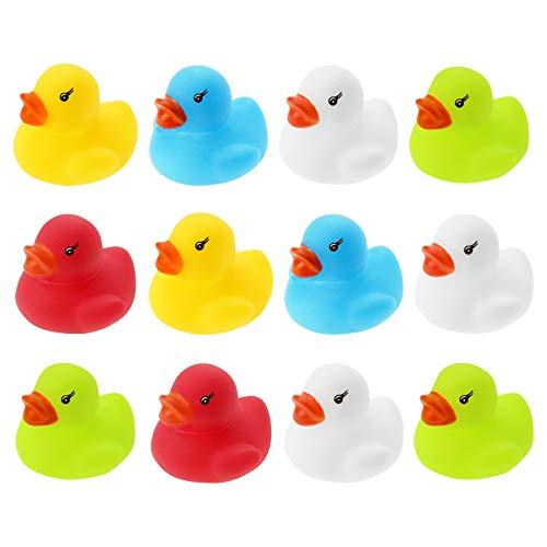 WELLGRO 12 patitos de goma (amarillo, rojo, blanco, azul, verde), cada pato mide 3,5 x 3 cm (diámetro x altura), en red.