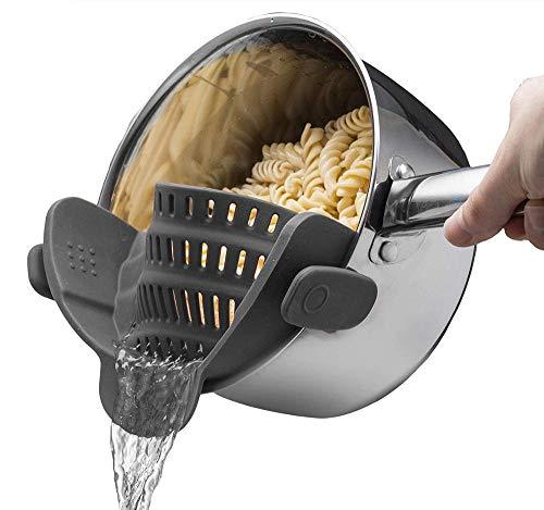 Netrox Sieb aus Silikon einhängend - spülmaschinenfest und lebensmittelfreundlich - Nudelsieb Abtropfsieb Küchensieb Dampfgar Einsatz, Küchensieb mit Clip (grau)