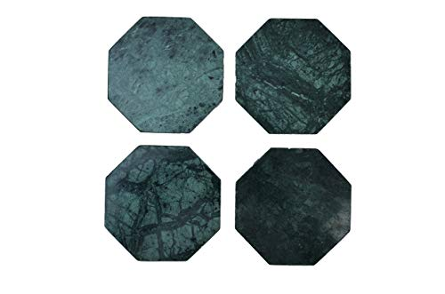 Hand Crafted Marble Coasters for Drinks, Set of 4 - Genuine Marble Coaster for Wine Glass, Coffee Cup, Soft Drinks, Water, or Beer - Decorative Sleek Green Marble Coasters - Octagon Coasters