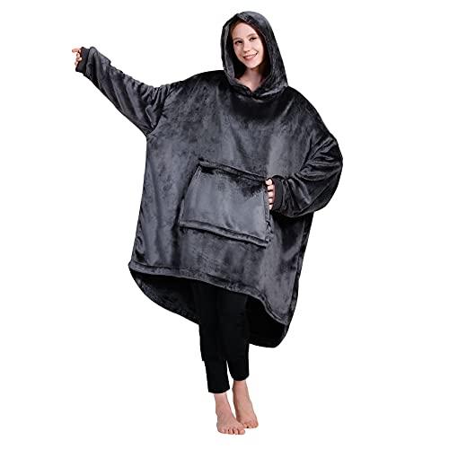WOFALA Blanket Hoodie Warm Wearable Blanket Soft Velour Blanket Sweatshirt Oversized Fits All for...