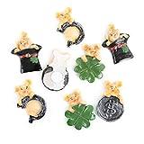 Logbuch-Verlag - 8 piccoli maialini portafortuna con punto adesivo con simboli portafortuna, moneta cilindrica a forma di quadrifoglio, ferro di cavallo, regalo di Capodanno