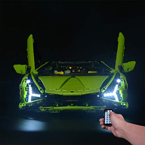 Seasy Juego de luces LED para coche de carreras Lego Technic Lamborghini Sián FKP 37, compatible con mando a distancia Lego 42115 (sin juego de Lego)