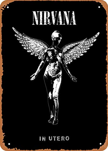 ZJLVMF Album Covers Music Nirvana in Utero Plaque Poster Metal Tin Sign 8' x 12' Vintage Retro Wall Decor