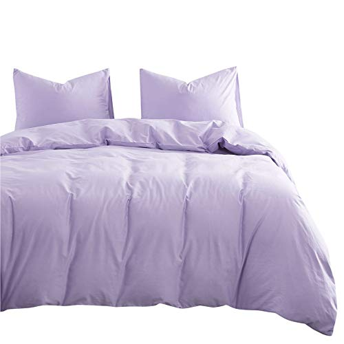 Wake In Cloud - Lilac Cotton Duvet Cover Set, 100% Cotton Bedding, Simple Modern Soft Solid Plain Color Light Purple Lavender, Zipper Closure and Corner Ties (3pcs, Queen Size)