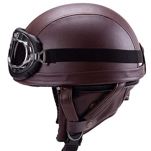 Casco Moto para Adultos,Gafas de Protección Casco Moto de Cara Abierta Retro Motocicleta Jet Casco ECE Homologado four Seasons Abierto Media Cara Casco 56~60cm