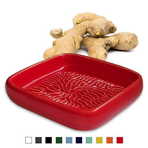ANCKERAMIC® Ceramico Reibe – Muskatreibe, Ingwerreibe, Parmesanreibe aus Keramik, Handarbeit aus Finnland, (Rot)