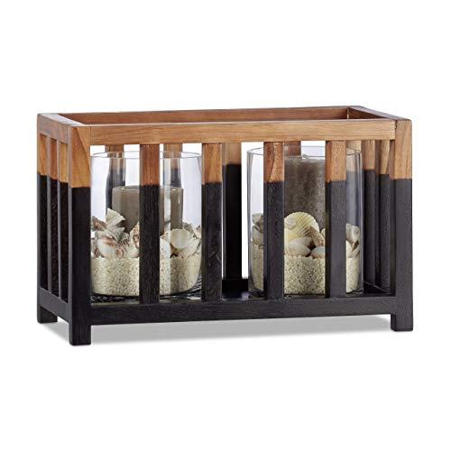Relaxdays teakhouten windlicht, maat L, cilindrische glazen vaas, tafeldecoratie voor grote kaarsen, kaarsenhouder 36 cm breed zwart-bruin