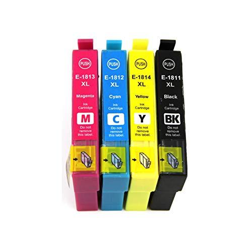 Abakoo 4 cartuchos de impresora XL de repuesto para Epson Expression Home XP 322 XP 425 XP-412 XP-312 XP-102 XP-325 XP-225 XP 412 XP 415 XP 425 (1 negro, cian, magenta y amarillo)