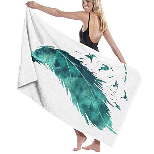 Olie Cam Asciugamani da bagno Asciugamano da spiaggia con pittura a piume Arredo bagno Piscina estiva per le Donne Asciugamani per lavaggio a secco Super assorbenti lunghi