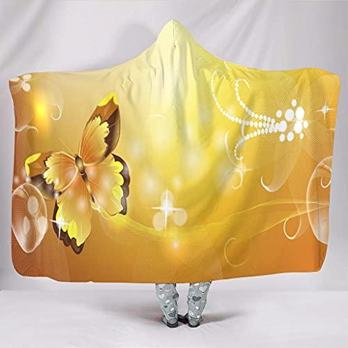 Fineiwillgo Sudadera con capucha y diseño de mariposas, color amarillo, muy suave, cómoda y con capucha, para adolescentes, sofá o sillón de salón, color blanco, 150 x 200 cm