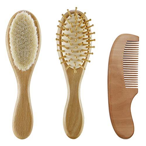 Juego de 3 cepillos de pelo de bebé y peine para recién nacido, cepillo suave de madera con cerdas suaves, producto perfecto para el cuidado del cuero cabelludo para bebés, niños pequeños y niños