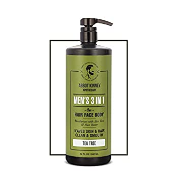 Men s 3-in-1 Wash Moisturizing Shampoo Conditioner and Body Wash for Men Suitable for All Skin and Hair Types 32oz - Abbot Kinney Apothecary  Tea Tree