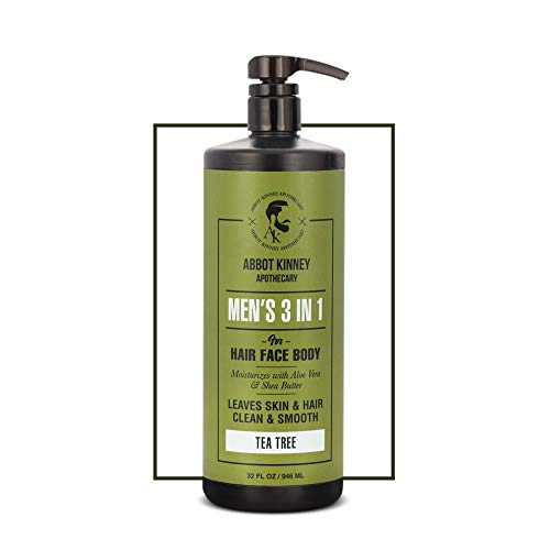 Abbot Kinney Apothecary Men's 3-in-1 Moisturizing Shampoo, Conditioner, and Body Wash (Tea Tree)
