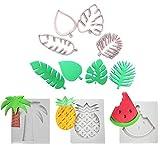 Tropical Theme Cake Fondant Mold Kit 3Pcs Molde Silicona para Fondant Frutas Tropicales en Forma, 4 Unids Cortadores de Galletas de Hoja Tropical Set para Niños Biscuit Mold Baking Pastelería Decor