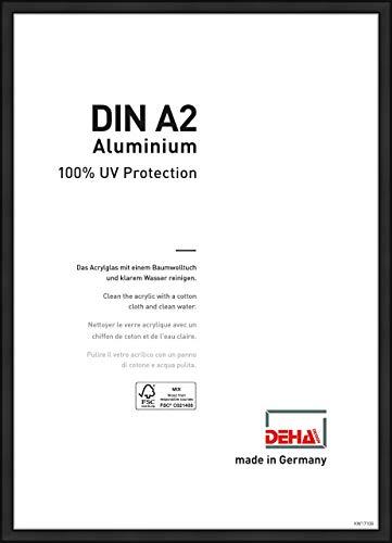 DEHA Aluminium Bilderrahmen Boston, 42x59,4 cm (A2), Eloxal Schwarz Matt