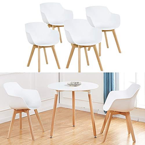 H.J WeDoo 4er-Set Wohnzimmerstuhl Esszimmerstuhl mit Armlehne und Buchenholz Retro Design Stuhl für Büro Lounge Küche Wohnzimmer (Weiß)