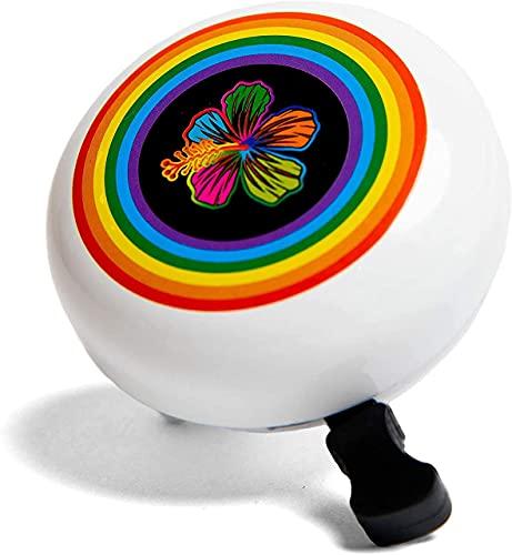 DayJay Campana de bicicleta para niños, diseño de flores de arco iris, para bicicleta o scooter, campana de triciclo para niños y niñas