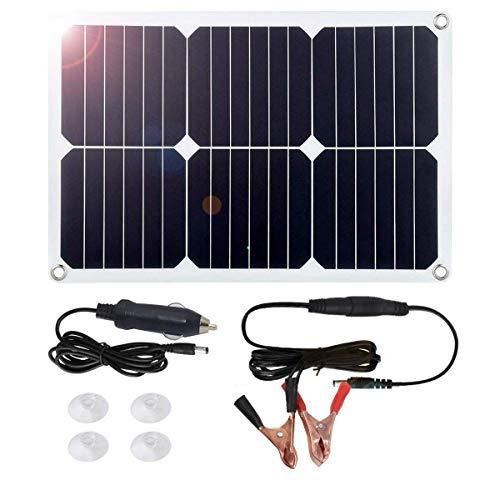 Cargador de batería solar de 18 W para coche, portátil, flexible, panel solar, cargador con encendedor de cigarrillos, ventosas