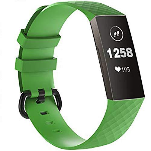 KingAcc Kompatibel Fitbit Charge 3/Charge 4 Armband, Weiche Silikon Ersatz Armbänder Armband für Fitbit Charge 3, Metall Schnalle Fitness Armband Uhrenarmband Frauen Männer (1-Pack, Grün, Groß)
